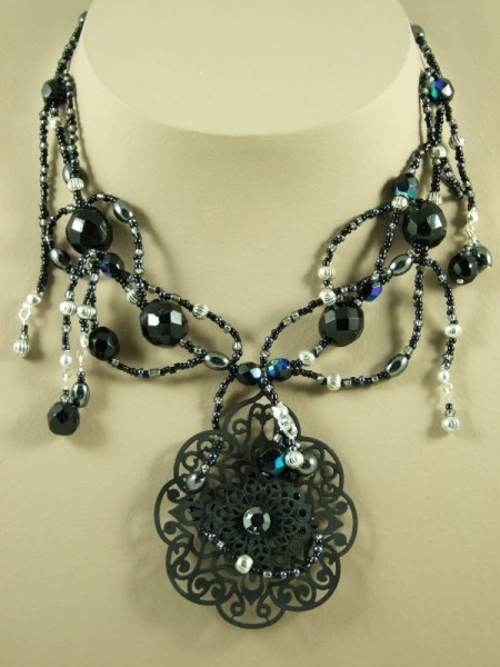 Black Filigree & Hematite Vines Ornate Pendant  Necklace Project