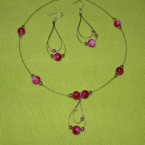 Pink Teardrops Necklace Set Jewelry Idea