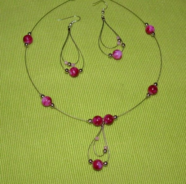 Pink Teardrops Necklace Set Project