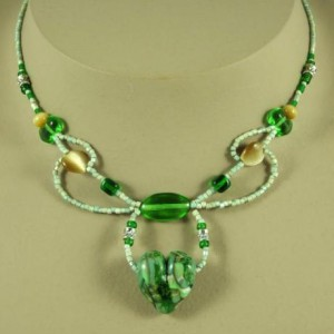 Green & Beige Hearts & Vines Necklace Jewelry Idea