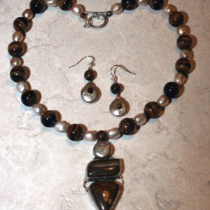 Pearl & Tigers Eye Necklace And Earring Set Project