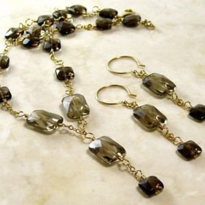 Smoky Quartz & Gold Chain Necklace Set Jewelry Idea