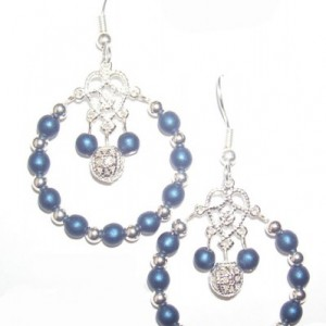 Czech Druk Satin Blue Glass Bead Earrings Jewelry Idea