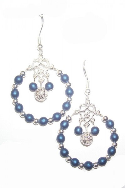 druk orig earrings project czech beading glass satin bead beadage blue
