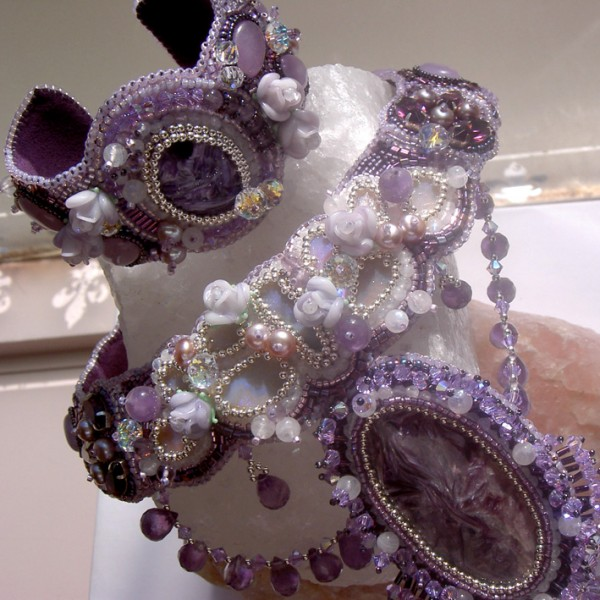 Violet Embroidered Fantasy Necklace Beadage