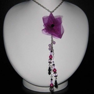 Flower Ribbon Necklace Jewelry Idea