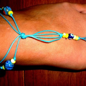 Blue Waxed Cord Footlet Jewelry Idea