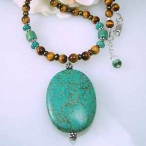 Turquoise And Tiger Eye Gemstone Necklace Jewelry Idea