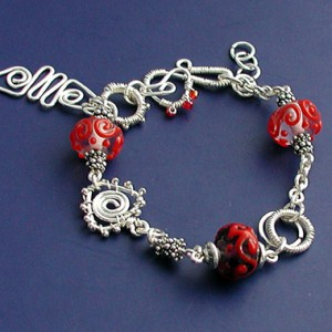 Garden of Red WireWork Bracelet Project