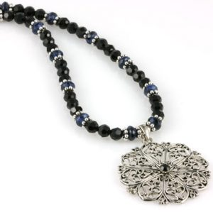 Blue Lapis Filigree Snowflake Pendant Necklace Project