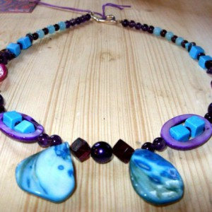 Shell And Amethyst Necklace In Blue and Purple Project
