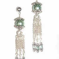 Green Glass Pearl Dangle Earrings Project