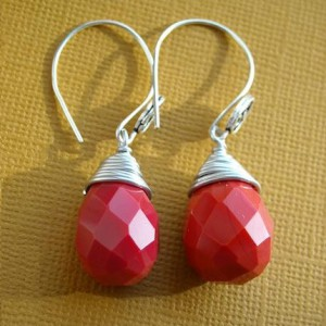 I Love You Red Coral Drop Earrings Jewelry Idea