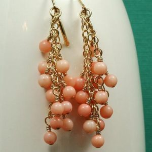 Pink Coral Cluster Gold Filled Earrings Project