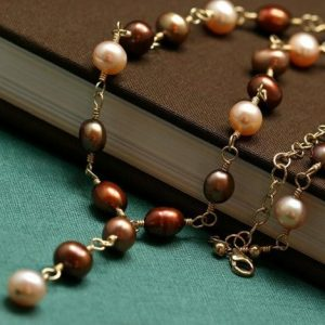 Brown And Cream Freshwater Pearl Necklace Jewelry Idea