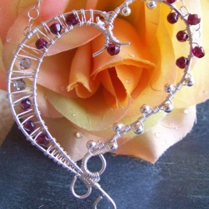 Sterling Silver Wire Heart Pendant With Garnets Jewelry Idea