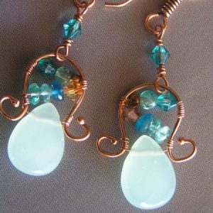 Copper Wire Earrings With Russian Amazonite And Apatite Jewelry Idea