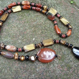 Long Black Brown Gemstone And Copper Necklace Project