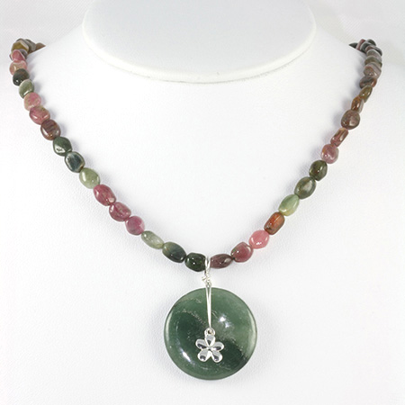 Moss Agate Circle Gemstone Beaded Necklace Project