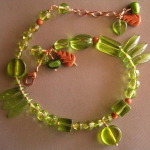Goldstone And Green Anklet Project