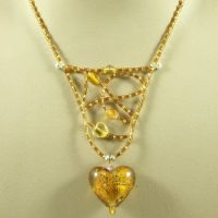 Amber Web  And Heart Necklace Project