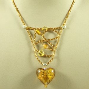 Amber Web  And Heart Necklace Jewelry Idea