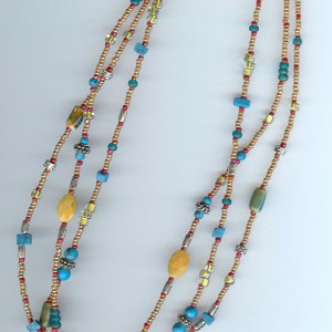 Three-strand necklace with stone pendant Jewelry Idea