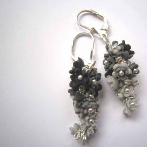 Black and Silver Polymer Clay Flower Earrings Project