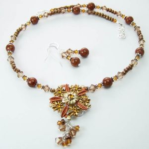 Crystal Floral Beaded Necklace Jewelry Idea