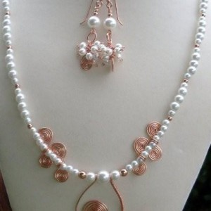 Copper And Glass Pearl Necklace Set Jewelry Idea