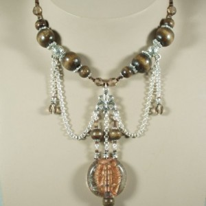Copper, Wood & Bali Bead Ornate Pendant Jewelry Idea