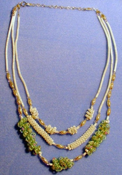 White And Green Coil Beads Necklace Project