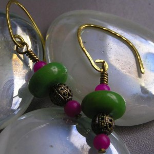Chrysoprase And Fuchsia Jade Earrings Project
