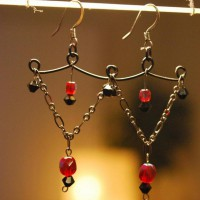 Black and Red Chandelier Earrings