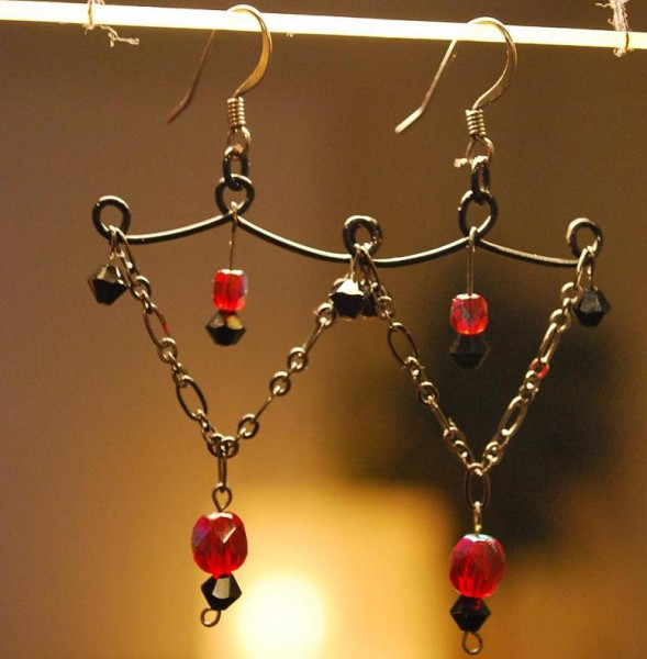 Black and Red Chandelier Earrings Project