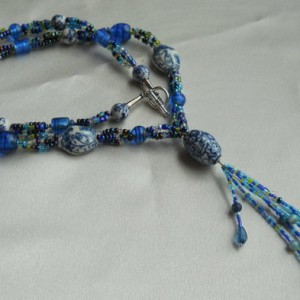 Porcelain With Blues Neckace Project