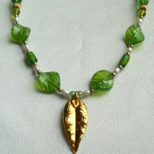 Maile Leaf With Fresh Water Pearls And Green Glass Leaves Jewelry Idea