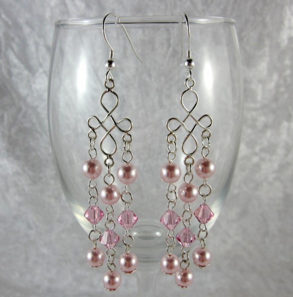 Simple Pink Wedding Earrings