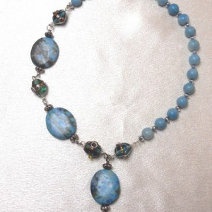 Asymmetrical  Blues Necklace Jewelry Idea