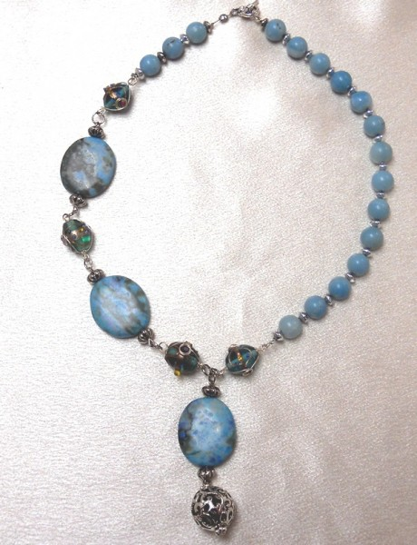 Asymmetrical  Blues Necklace Project