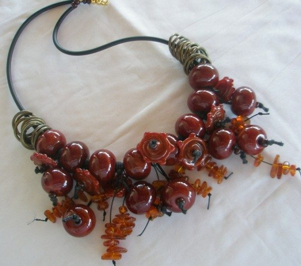 Red Glass Autumn Necklace Project