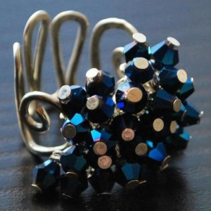 Sparkling Iris Blue Beads Ring Project Idea