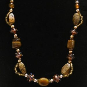 Tigers Eye And Picture Jasper Choker Jewelry Idea