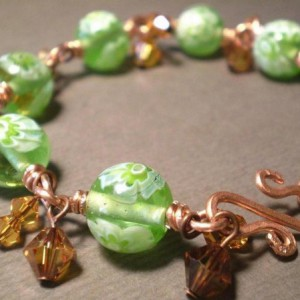 Green Glass Wire Wrapped Bracelet With Swarovski Crystals Jewelry Idea