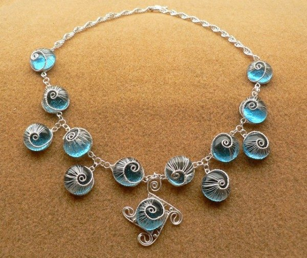 Blue Woven Snails Necklace Project