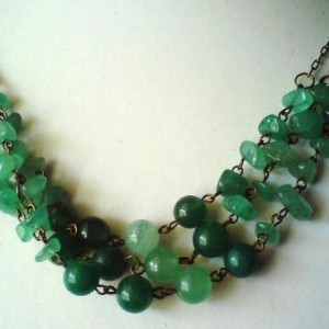 Aventurine Chips And Rounds Triple Strand Necklace Jewelry Idea