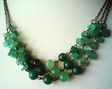 Aventurine Chips And Rounds Triple Strand Necklace Project