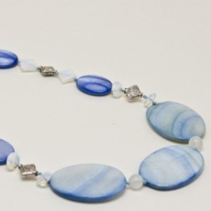 Blue Mother Of Pearls With Opals Necklace Jewelry Idea