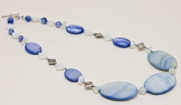 Blue Mother Of Pearls With Opals Necklace Project