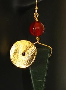 Green Aventurine With Gold Disk Earrings Jewelry Idea